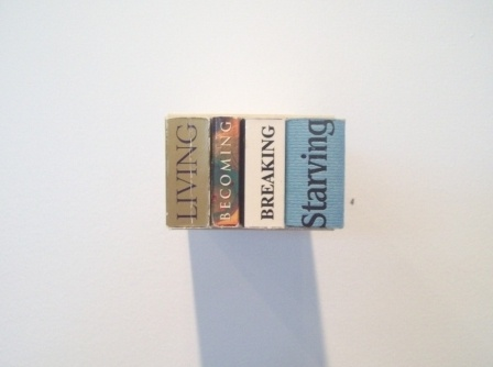conceptual art with books, sculpture