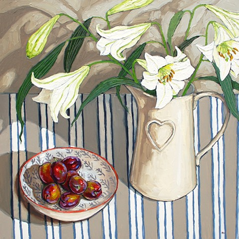 Lilies with Victoria plums