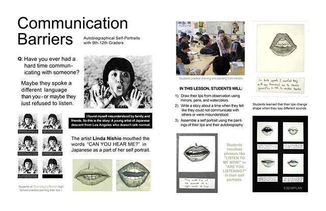"Curriculum Lesson Plan for artwork based on Linda Nishio (""Communication Barriers"")"