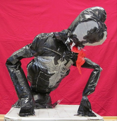 Student Work (Spider-Man) Inflatable Sculpture, made from trash