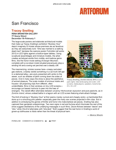 "Artforum review of ""Mystery Hour"" January 2014"