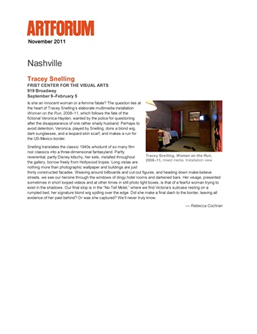 """Artforum review of """"Woman on the Run"""" """"Tracey Snelling"""""""
