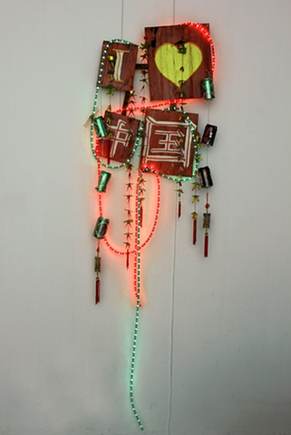 I Love China mixed media neon sign sculpture