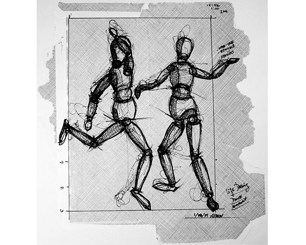 First Sketch Mannequins Dancing