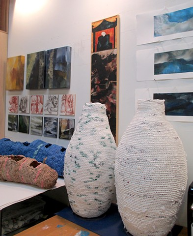 Nice snapshot of different artworks in the studio
