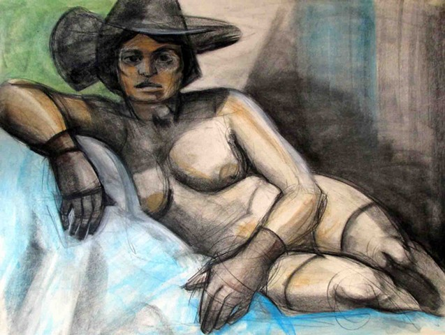 Life Drawing Model with Hat and Gloves