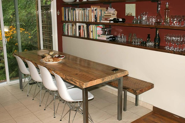 custom dining table and bench