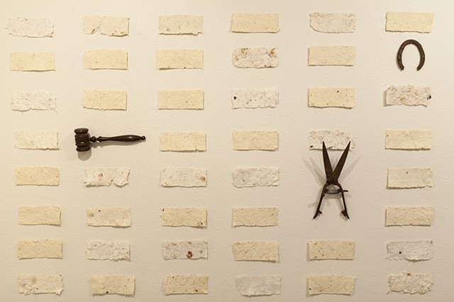 handmade cotton felt, graphite on paper, found objects, bronze, natural plants, wood, vintage weighing scale, cast iron