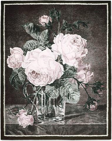 tapestry, wall hanging, ziejka, still life, roses