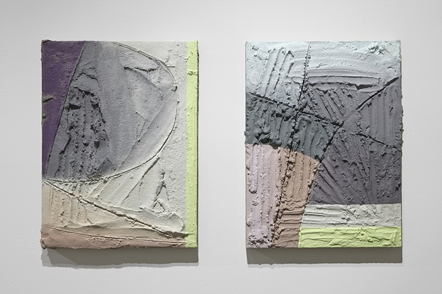 "Left: ""What You Heard""  2014 Acrylic and mixed media on burlap and panel 24"" x 18"" Right: ""That Was Also""  2014 Acrylic and mixed media on burlap and panel 24"" x 18"""