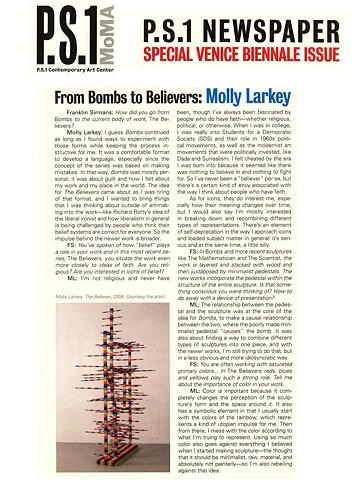 PS1 Newspaper, From Bombs to Believers: Molly Larkey, Summer 2007