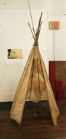 tee-pee, eco shelter, sculpture, patterns, paper works