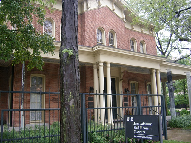 Exterior of the Jane Addams Hull House Museum.