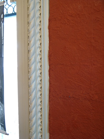 Detail, Excavating History Hull House, walls lined with terra cotta plasticine
