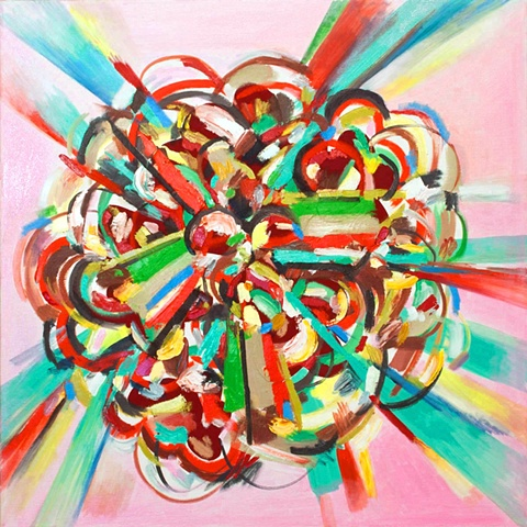 abstract painting, explosion, geometric, action painting, pink