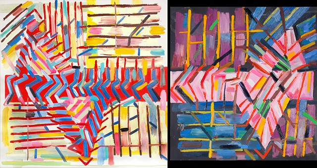 abstract painting, stripes, geometric, overalls, red, blue, black, pink, diptych
