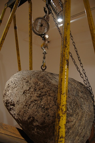 Coriolis (rock weighing in at 1000 lb.) (installations in Vertigo at Gallery Pierre-Francois Ouellette Art Contemporain)