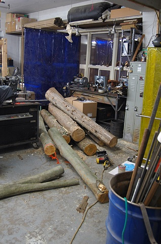 Lumber prepared in studio for Murder (work in progress)