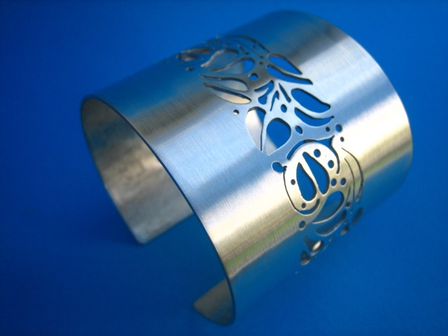 Jewelry Bracelet Cuff tigerlilly flowers sterling silver satin cuff wide bracelet metal metalwork modern sawpierced etsymetal