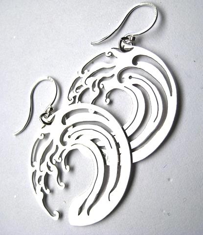 jewelry earrings metal metalwork water waves japanese sydney australia etsymetal ceeb wassermann circle hooks cut out