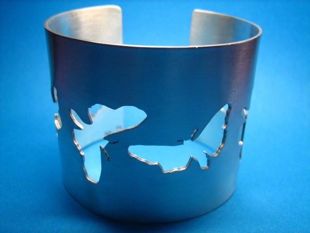 sterling silver cuff with moths cut out flying handmade sydney australia