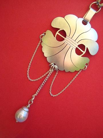 sterling silver pendant pearl chains domed sydney australia handmade