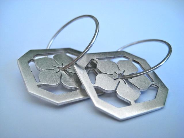 jewelry, earrings, metal, metalwork, flower, blossom, japanese, ume, hana,sydney, australia, sterling silver