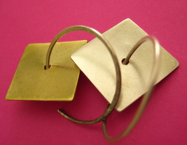 Tags Jewelry Earrings earring metal modern metalwork wire square geometric gold hoops swing balanced sparkly