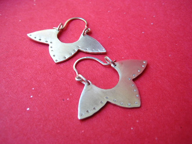 Tags jewelry earrings metal hoop metalwork  ceeb wassermann japanese petal flower sydney australia dots jewellery