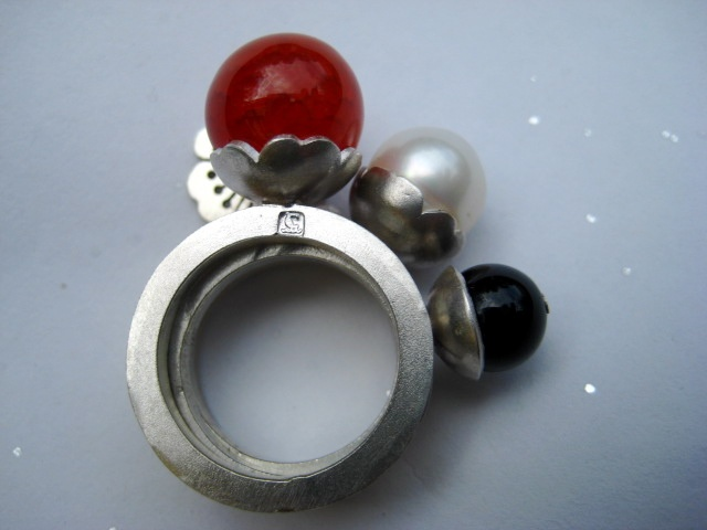 fire agate ball sterling silver stacking ring australia