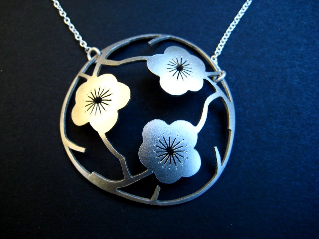3 Gorgeous Cherry Blossoms sawpierced out of sterling silver, domed and sandblasted japanese pendant