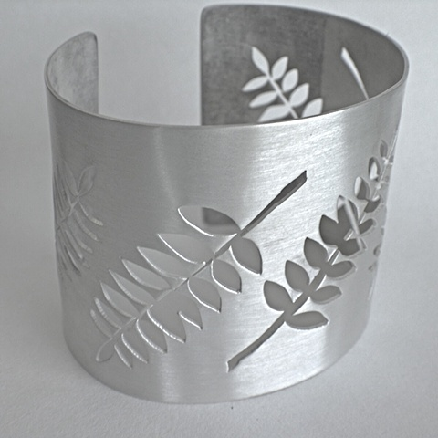 Jewelry Bracelet Cuff satin plants fern silver sterling wide etsymetal wedding bridal DUST Team handmade cuff