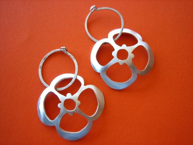lotus shaped sterling silver earrings