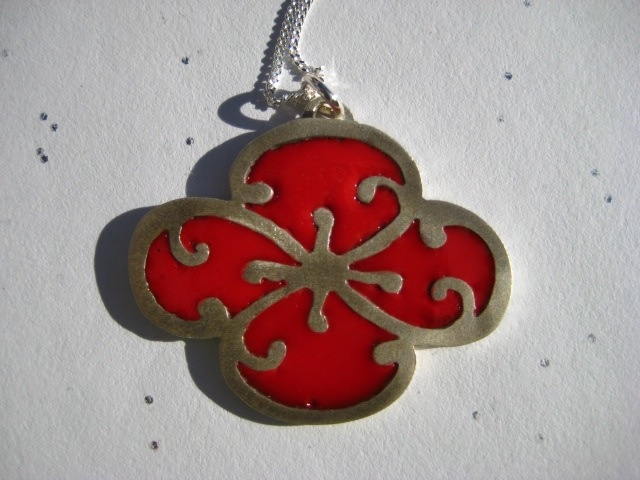 sakura sterling silver pendant filled with red cold enamel