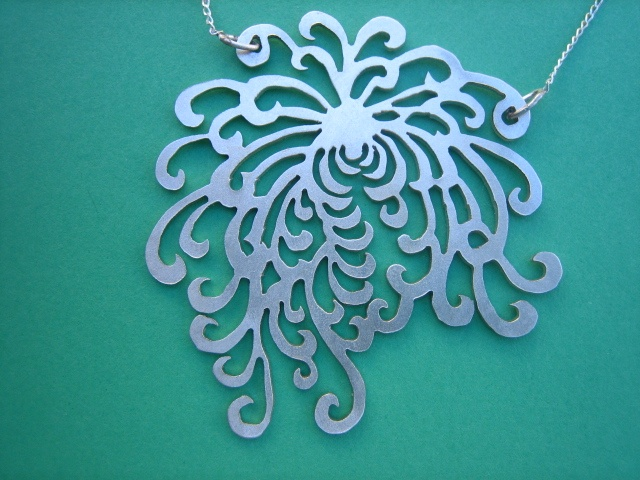 Japanese inspired Chrysathemum Flower pendant in sterling silver