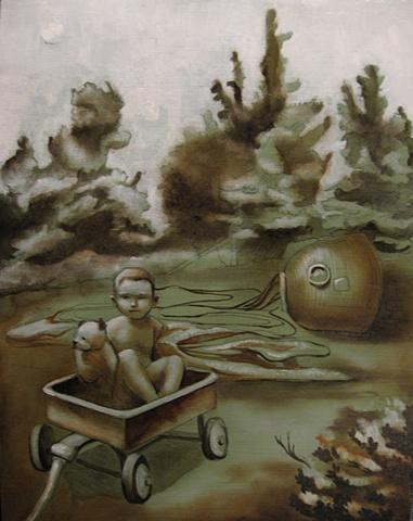 Lyndsea Cherkasky - Lindsey Cochrane - Little Jim, Buster, and Progress - oil on panel