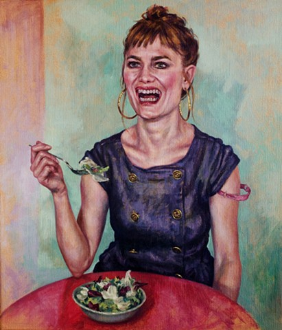 Laughing While Eating Salad  A2 Limited Edition Giclee Print
