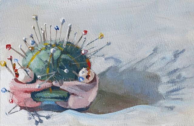still life, acrylic painting, green pin cushion, watercolor paper