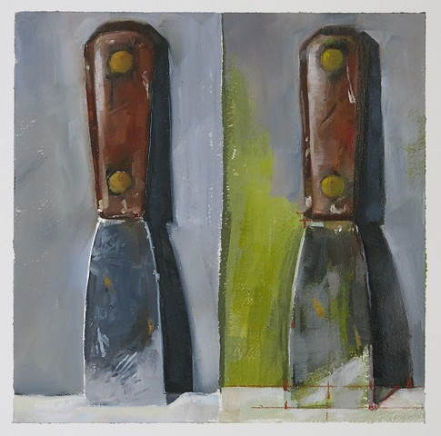 oil painting, still life, spatula