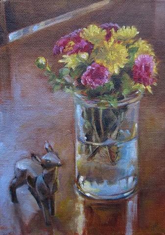 still life, oil painting, bottle, Playmobile deer