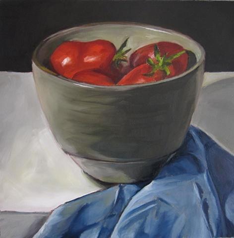 still life,oil painting, tomotes, bowl
