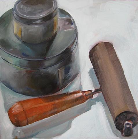 still life,oil painting, ink, brayer