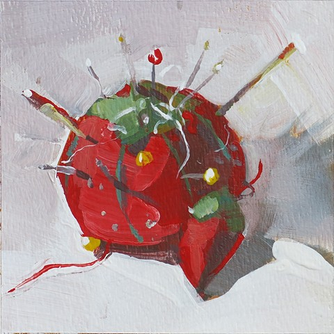 still life, acrylic painting, tomato pin cushion, red pin cushion, watercolor paper