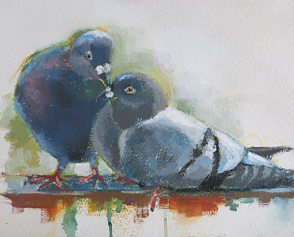 still life, acrylic painting, alla prima, pigeons, birds, watercolor paper