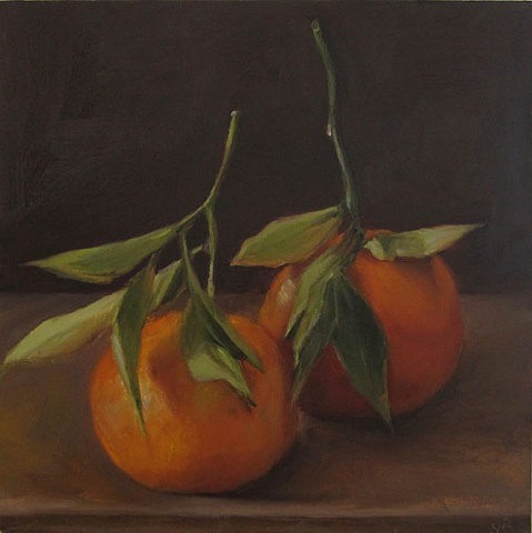 still life, fruit, oil painting, tangerines