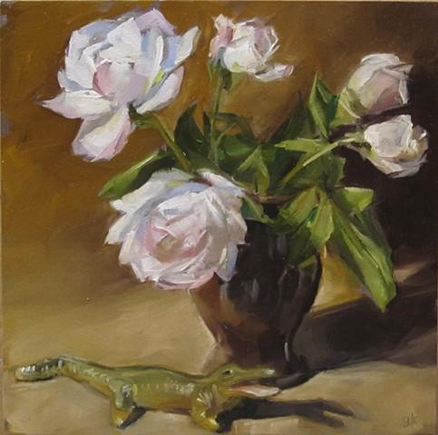 still life, vase, flowers, toy alligator