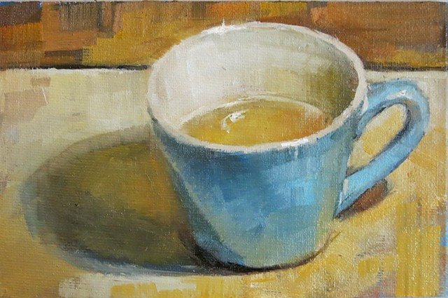 still life, oil painting, teal blue tea cup, alla prima