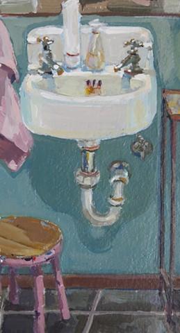 still life, acrylic painting,bathroom sink,