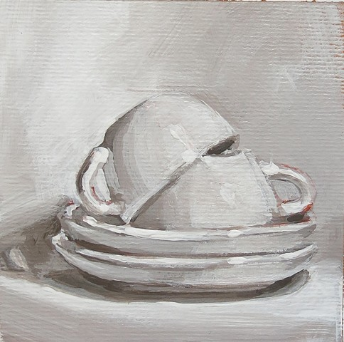 still life, acrylic painting, coffee cups, stack of cups, gray study, value study,watercolor paper
