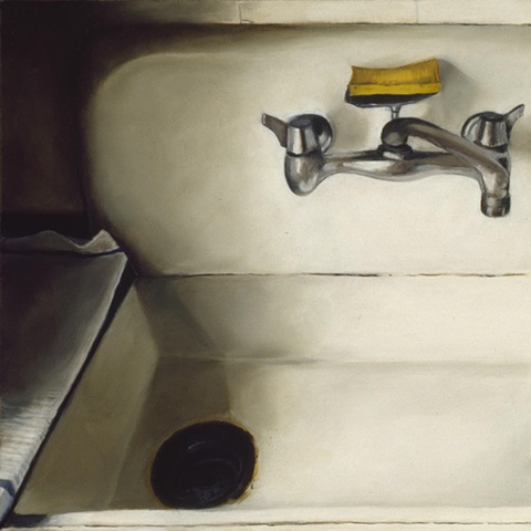 old sink, original oil painting, portrait, drain and a sponge